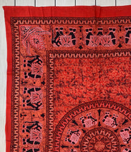 "Load image into Gallery viewer, Elephant Mandala Tapestry 80""X50"" Red"