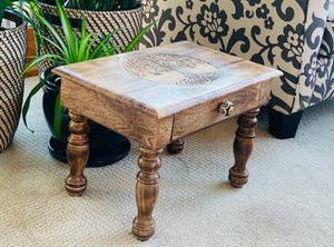 Large Hand Carved Solid Wooden Meditation Altar Table (Tree Of Life)