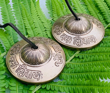 "Load image into Gallery viewer, DharmaObjects Tibetan Premium Quality""Om Lotus"" Tingsha Cymbals 3"" With Pouch"