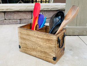 Rustic Country Style Wooden Utensil Cooking Tools Holder