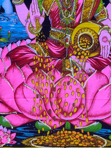 "Goddess Laxmi Fabric Tapestry Wall Decor Hanging 43"" X30"""