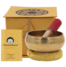 Load image into Gallery viewer, Tibetan 5 Buddhas Singing Bowl Complete Set ~ With Mallet, Brocade Cushion & Carry Bag ~ For Meditation, Chakra Healing, Prayer, Yoga