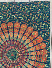 "Load image into Gallery viewer, Lotus Mandala Tapestry Wall Hanging Decor 80""X50"" Green"