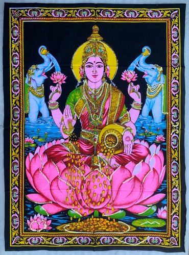 Goddess Laxmi Fabric Tapestry Wall Decor Hanging 43