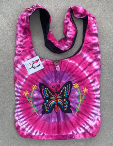 Tie Dye Hippie Hobo Bohemian Crossbody Butterfly Bag Purse