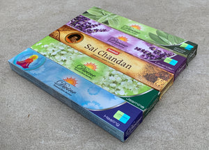 Gift Set of 5 Sai Chandan, Jasmine, Healing, Lavender and White Sage Incense Kit (incense Holder Included)