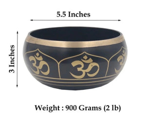 Tibetan Extra Large Heavy Meditation OM Peace Singing Bowl With Mallet and Silk Cushion