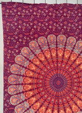"Load image into Gallery viewer, Lotus Mandala Tapestry Wall Hanging Decor 80""X50"" Maroon"