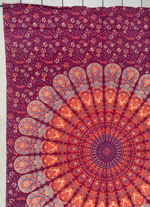 "Lotus Mandala Tapestry Wall Hanging Decor 80""X50"" Maroon"