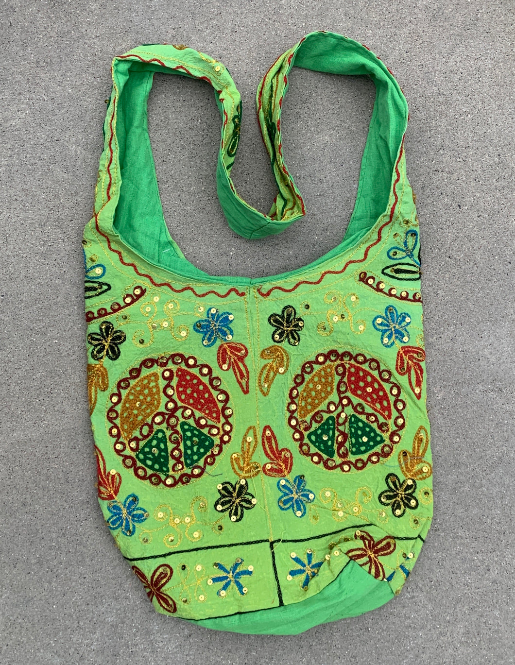 Hobo Hippie Bohemian Sling Crossbody Peace Sign Purse Bag