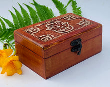 Load image into Gallery viewer, Fatima Hand Carved Jewelry Trinket Keepsake Wooden Storage Box