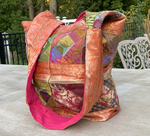 Recycled Sari Patchwork Hippie Hobo Crossbody Bag Purse