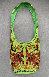 Elephants Hobo Hippie Bohemian Sling Crossbody Bag Purse
