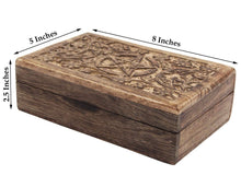 Load image into Gallery viewer, Hand Carved Jewelry Trinket Keepsake Wooden Storage Box Triple Moon