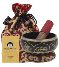Load image into Gallery viewer, Medium ~ Tibetan 8 Lucky Symols Singing Bowl Set ~ With Mallet, Brocade Cushion & Carry Bag ~ For Meditation, Chakra Healing, Prayer, Yoga