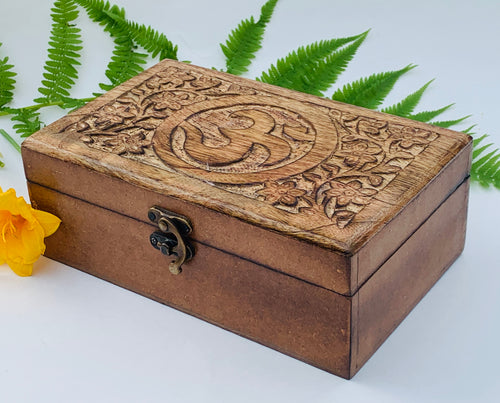 OM Hand Carved Jewelry Trinket Keepsake Wooden Storage Box With Lock