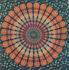 "Lotus Mandala Tapestry Wall Hanging Decor 80""X50"" Green"