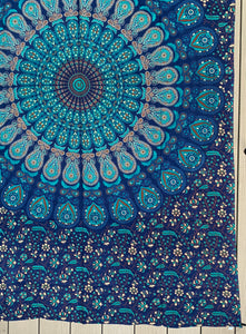 "Lotus Mandala Tapestry Wall Hanging Decor 80""X50"" Turquoise"