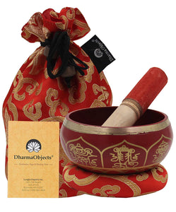 Medium ~ Tibetan 8 Lucky Symols Singing Bowl Set ~ With Mallet, Brocade Cushion & Carry Bag ~ For Meditation, Chakra Healing, Prayer, Yoga
