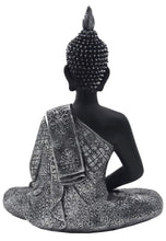"Load image into Gallery viewer, Silver Tone Thai Buddha Meditating Peace Harmony Statue 11"" Tall"