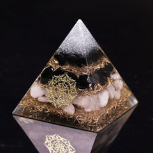Load image into Gallery viewer, Powerful Orgonite Pyramid Obsidian Copper Shavings Orgone Pyramid With White Crystal Reiki Healing Meditation Pyramids