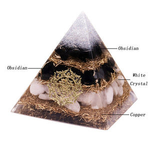 Powerful Orgonite Pyramid Obsidian Copper Shavings Orgone Pyramid With White Crystal Reiki Healing Meditation Pyramids