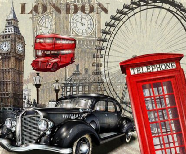 Cars London Tower Diy Paint By Numbers Kits Uk XQ2928