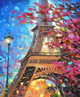 Landscape Eiffel Tower Diy Paint By Numbers Kits Uk GX067