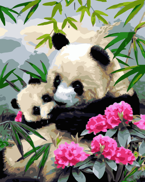 Lovely Panda Diy Paint By Numbers Kits Uk RA3123