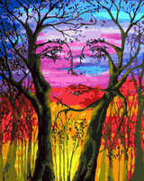 Abstract Art Tree& Girl Diy Paint By Numbers Kits Uk WM757