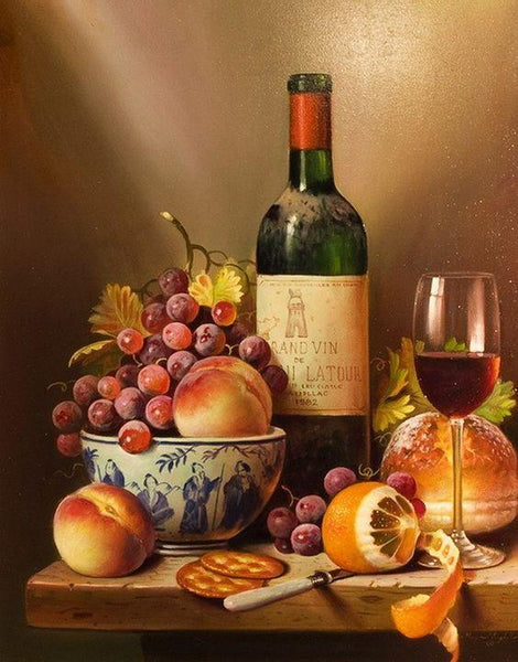 Wine And Fresh Fruit Diy Paint By Numbers Kits Uk VM00210