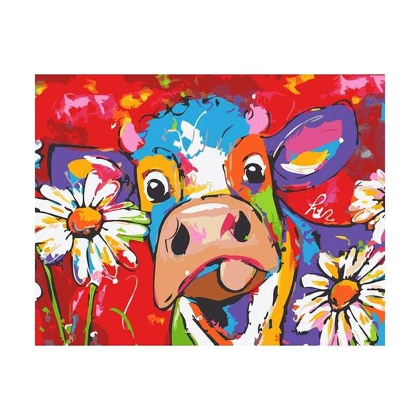 Colorful Cow Diy Paint By Numbers Kits UK VM95526
