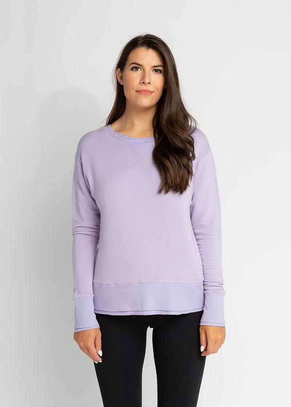 CLARA LONG SLEEVE SWEATSHIRT W/ DOUBLE LAYER HEM
