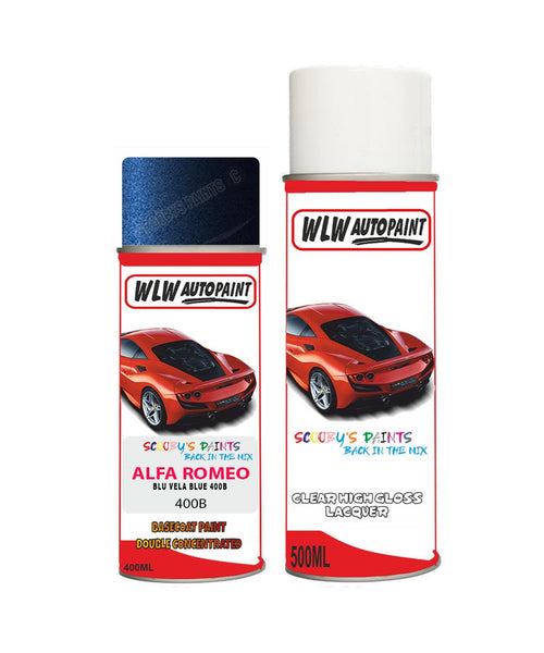 alfa romeo gtv blu vela blue aerosol spray car paint clear lacquer 400b