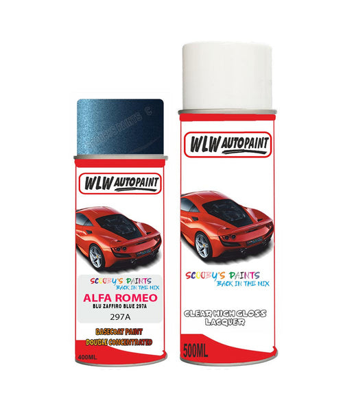 Alfa Romeo 159 Blu Zaffiro Blue Aerosol Spray Car Paint + Clear Lacquer 297A
