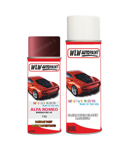 Alfa Romeo Gtv Bordeaux Red Aerosol Spray Car Paint + Clear Lacquer 146