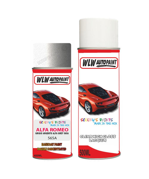 Alfa Romeo 159 Grigio Argento Alfa Grey Aerosol Spray Car Paint + Clear Lacquer 565A