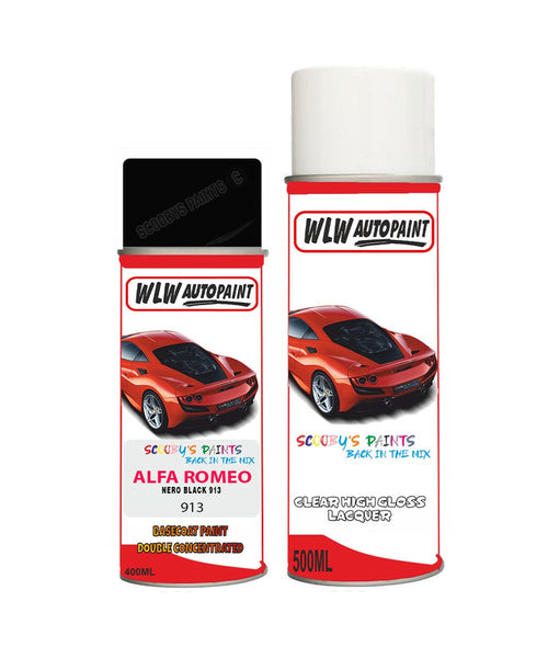 Alfa Romeo 146 Nero Black Aerosol Spray Car Paint + Clear Lacquer 913