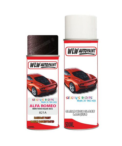 Alfa Romeo 146 Nero Fuoco Black Aerosol Spray Car Paint + Clear Lacquer 821A