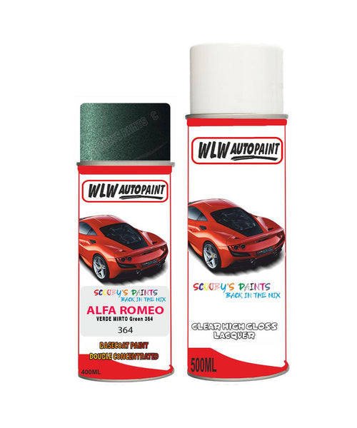 Alfa Romeo 146 Verde Mirto Green Aerosol Spray Car Paint + Clear Lacquer 364