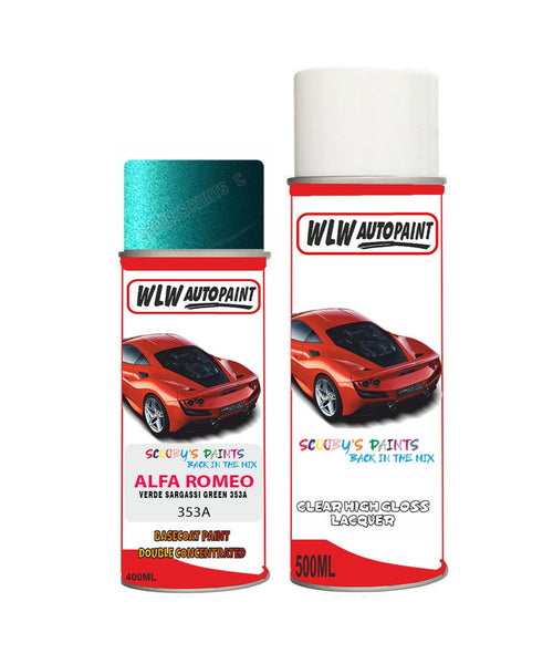 alfa romeo gtv verde sargassi green aerosol spray car paint clear lacquer 353a