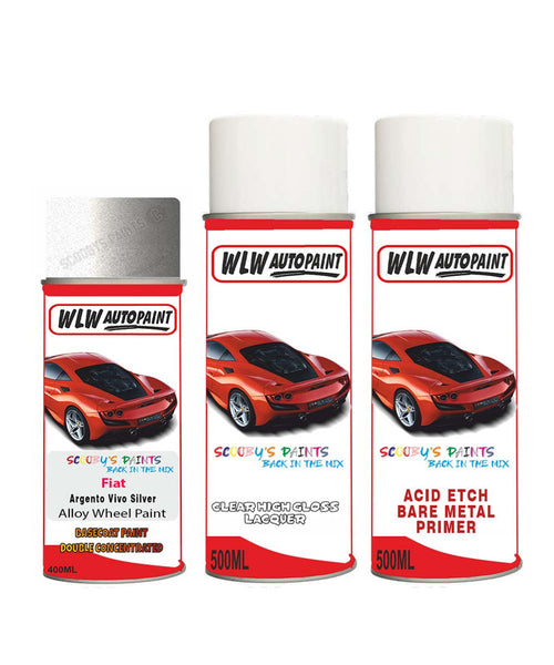 Fiat Qubo Argento Vivo Silver Alloy Wheel Aerosol Spray Paint Ps2/Qs2