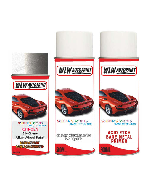 Citroen Nemo Gris Chrome Alloy Wheel Aerosol Spray Paint Hvv
