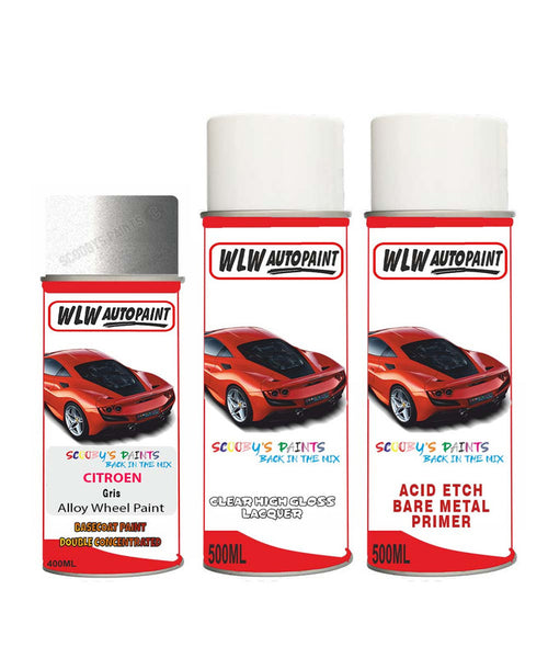 Citroen Nemo Gris Alloy Wheel Aerosol Spray Paint Ftu 1987 - 2020