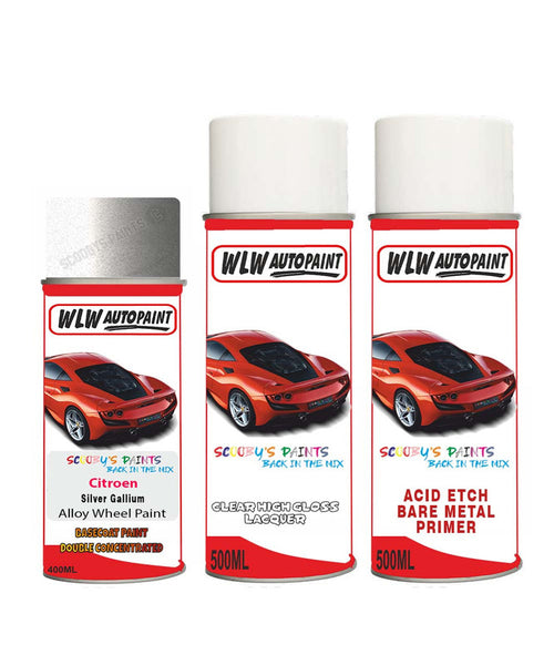 Citroen Nemo Silver Gallium Alloy Wheel Aerosol Spray Paint Ktb