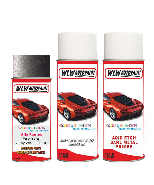 Alfa Romeo Gtv Vesuvio Grey Alloy Wheel Aerosol Spray Paint 035/B