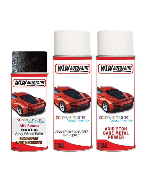 Alfa Romeo Mito Vulcano Black Alloy Wheel Aerosol Spray Paint 408/C