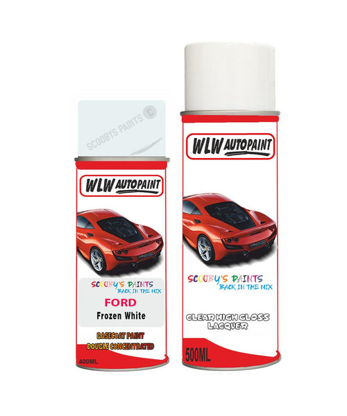 Ford Focus Frozen White Aerosol Spray Car Paint Can With Clear Lacquer