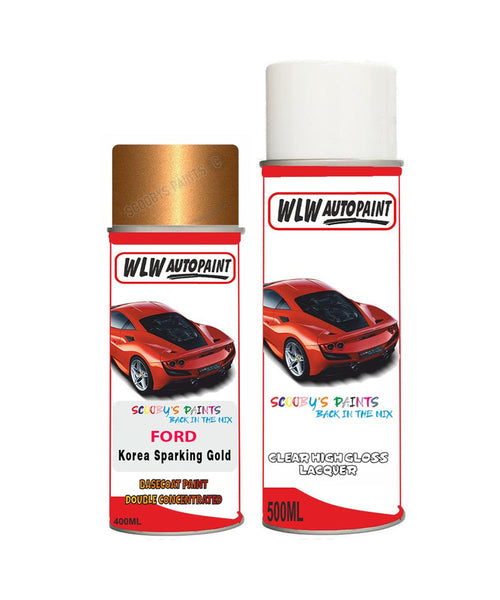 Ford Ka Korea Sparkling Gold Aerosol Spray Paint +Clear Lacquer