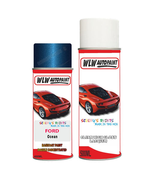 Ford Focus Ocean Aerosol Spray Car Paint Can With Clear Lacquer